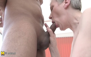 excited aged wench mom fucking a younger lad