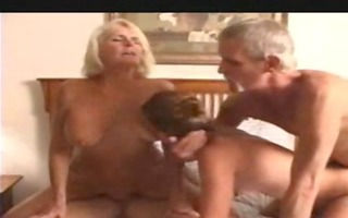 granny wife and a juvenile playgirl in a foursome