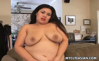 obese oriental hottie with large vibrator