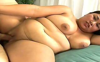oriental obese on her side taking a hard fucking