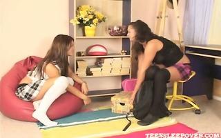 very cute lesbo nubiles video. begins outdoors
