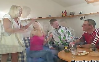 partying lads screw golden-haired granny