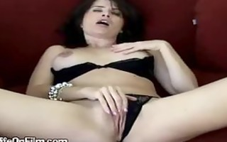 wicked large tit dark brown housewife plays with