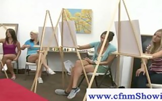 cfnm receive close with models during artclass