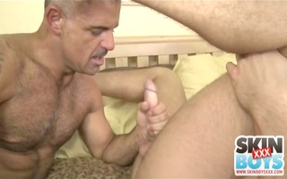 hawt aged fellow sucks and copulates younger stud