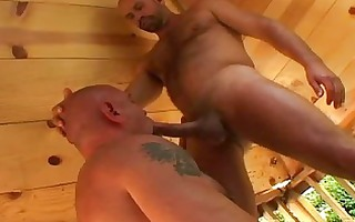 powerful homosexual bear gives oral stimulation