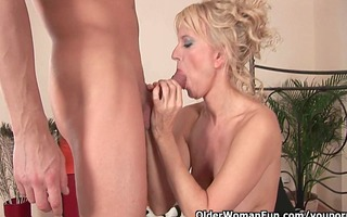 sultry senior lady works his hard dick