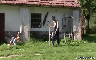 old stud pleases his son&#1074 s cheating gf