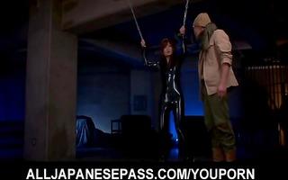 rina ishihara gets vibrators via latex