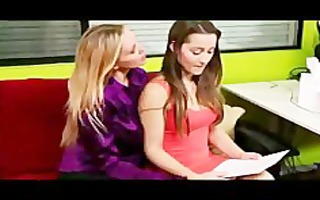 sexy lesbian babes fucking on red sofa