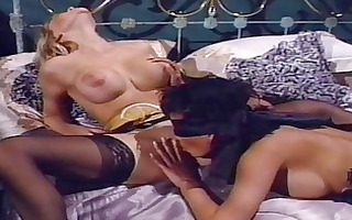 lesbian babes take up with the tongue each other
