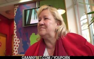massive granny swallows his concupiscent knob