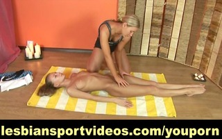 lesbo yoga performed by supple angels
