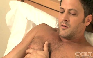 very gracious stud jerking off his wang whilst