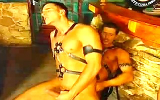hot homosexual threesome betwixt 4 muscled hunks
