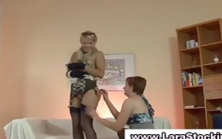british lesbo flashes her nylons and cookie