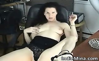 pretty hot dark brown babe rubbing