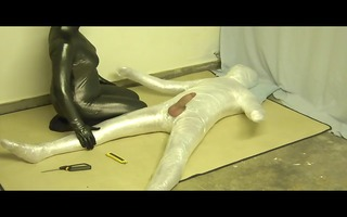 plastic wrap bondage and screwed