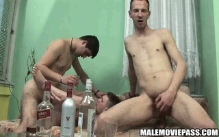 four slutty hunks have a few drinks previous to