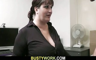 big beautiful woman in pantyhoses rides his giant