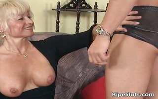 ultra golden-haired aged chick likes younger part4