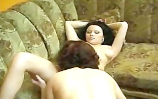 fantastic lesbian babes masturbating on daybed