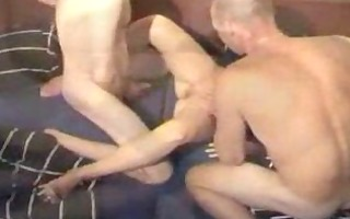 aged lady double-penetrated