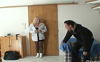 he brings blonde grandma home for hard fuck