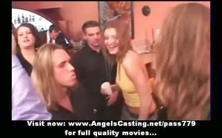 non-professional party in striptease bar with