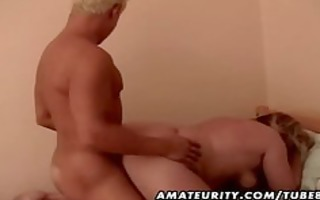 fat non-professional older wife drilled by a